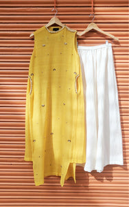 SUNSHINE YELLOW PLEATED KURTA