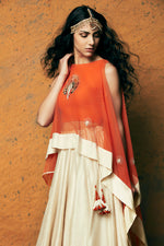 Load image into Gallery viewer, MARIGOLD CAPE & LEHENGA SET
