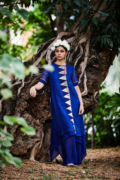ASYMMETRIC TEMPLE KURTA & PANT SET