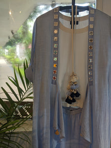 CHAMBRAY OVERLAY & TASSEL NECKLACE