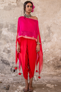 PINK EMBROIDERED CAPE & DHOTI PANTS SET
