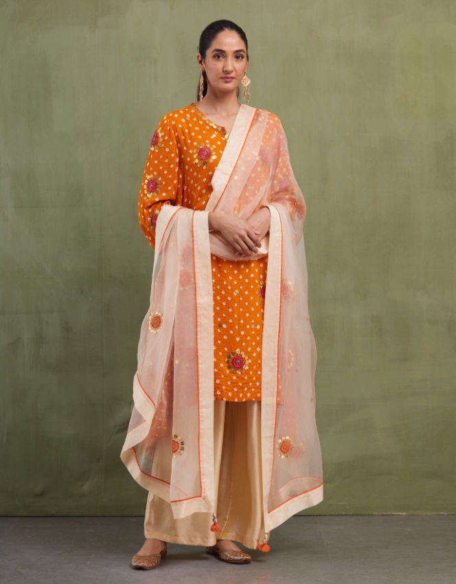 BEIGE & ORANGE SILK ODHNI