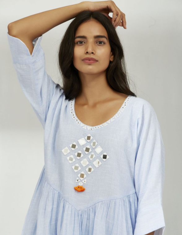 COTTON CHAMBRAY MIRROR KURTA