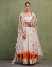 Load image into Gallery viewer, IVORY & ORANGE EMBROIDERED LEHENGA SET