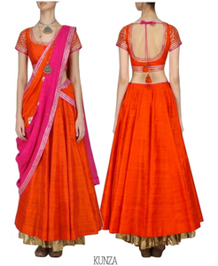 ORANGE & FUSCHIA COLOR BLOCKED MUKAISH LEHENGA SET