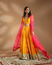 Load image into Gallery viewer, MANGO & PINK EMBROIDERED LEHENGA SET