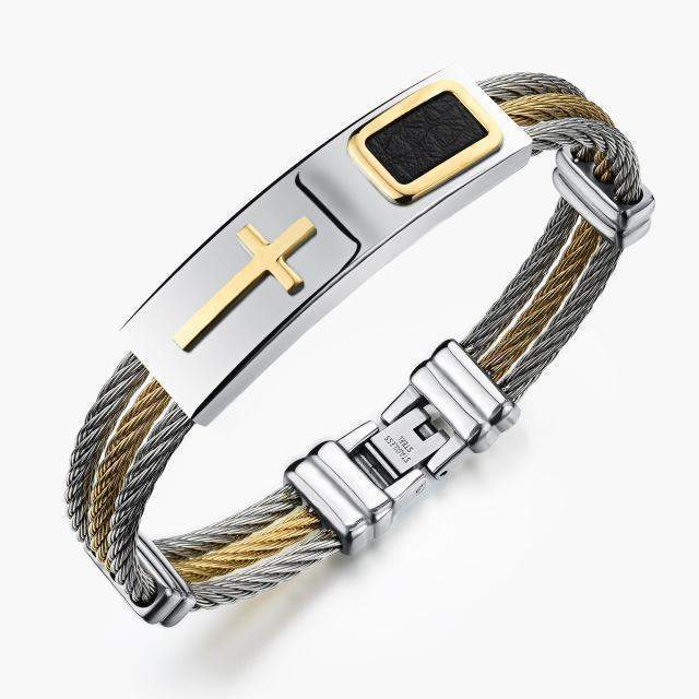 2018 PREMIUM GOLD STAINLESS STEEL CROSS BRACELET - Big Red
