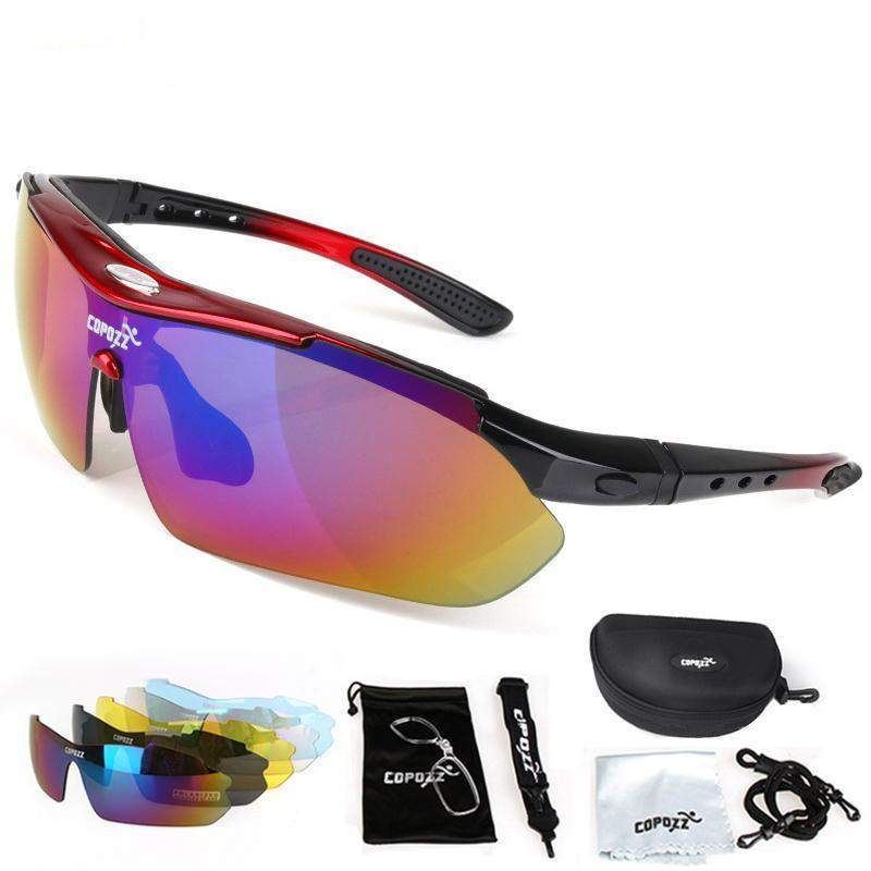 COPOZZ POLARISED CYCLING GLASSES - 2018 VERSION - Big Red