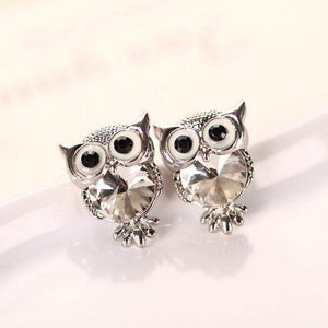 CRYSTAL OWL EARRING - Big Red