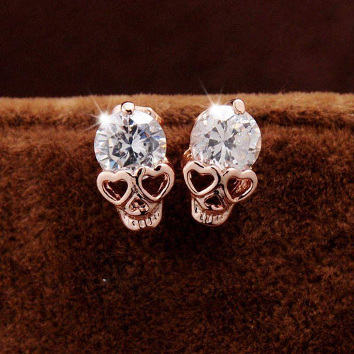 CRYSTAL STUD SKULL EARRINGS - Big Red