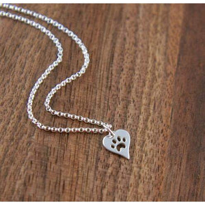 CUTE PAW PRINT HEART PENDANT - Big Red