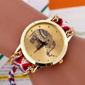 EXOTIC HAND BRAIDED ELEPHANT QUARTZ WATCH - Big Red