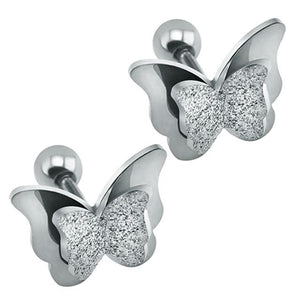 FROSTED BUTTERFLY STUD EARRINGS-Alpha Manchester