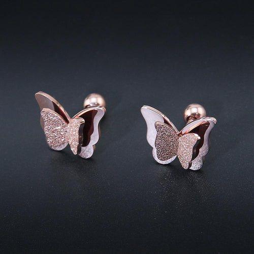 FROSTED BUTTERFLY STUD EARRINGS - Big Red
