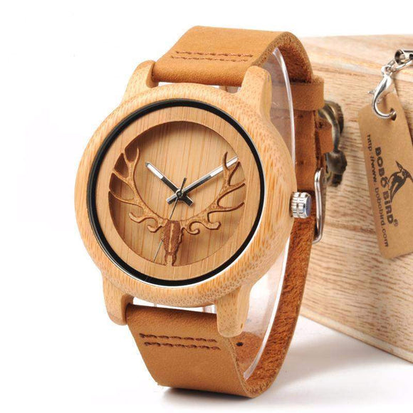 HANDMADE WOODEN BUCK HEAD WATCH-Alpha Manchester