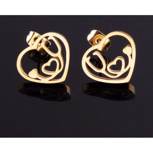 HEART & STETHOSCOPE EARRINGS - Big Red