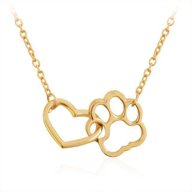 HOLLOW CAT PAW PRINT HEART NECKLACE - Big Red