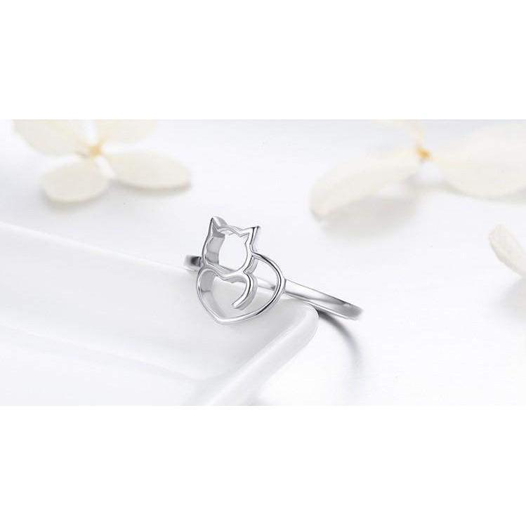 LITTLE CAT & HEART 925 STERLING SILVER RING-Alpha Manchester