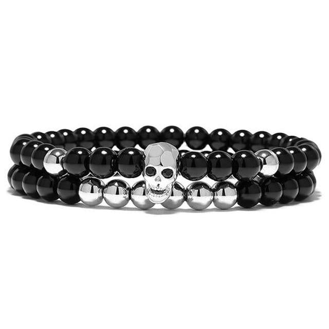 MYRTIS - PREMIUM NATURAL STONE SKULL BRACELET - Big Red