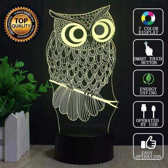 OWL '3D LED' Optical Illusion Lamp - Big Red