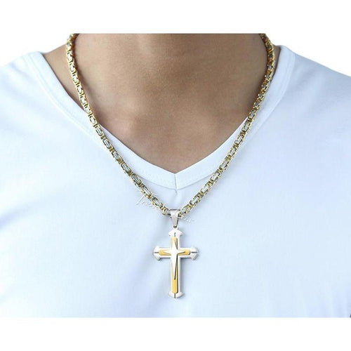 PREMIUM GOLD STAINLESS STEEL CROSS NECKLACE - Big Red