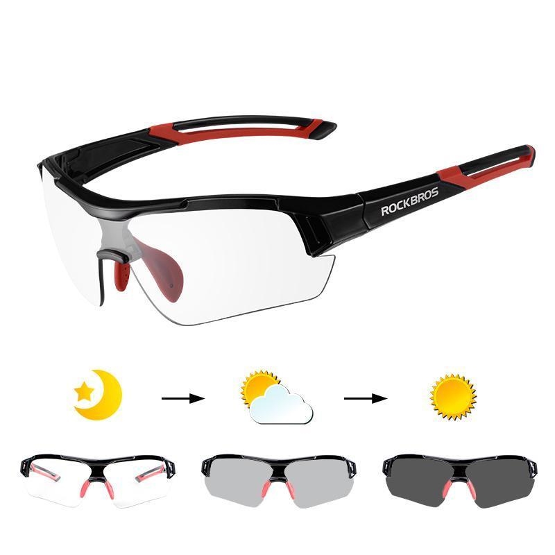 ROCKBROS PHOTOCHROMIC CYCLING SUNGLASSES - Big Red