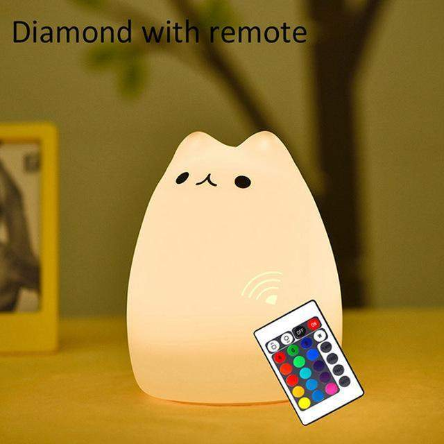 SILICONE CAT LED NIGHT LIGHT - Big Red
