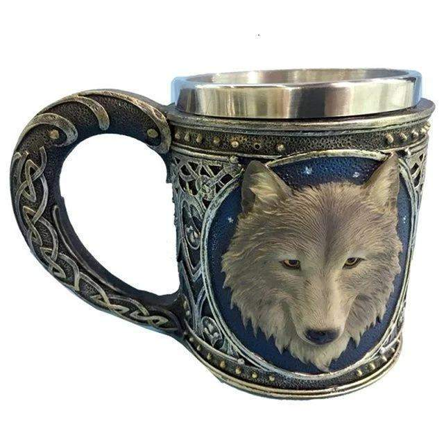 STAINLESS STEEL 3D WOLF COFFEE MUG-Alpha Manchester
