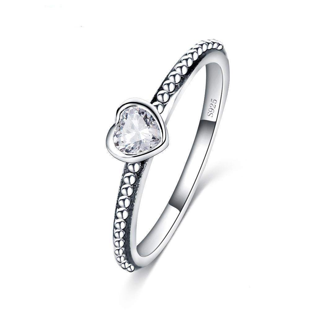STERLING SILVER LOVE HEART RING - Big Red