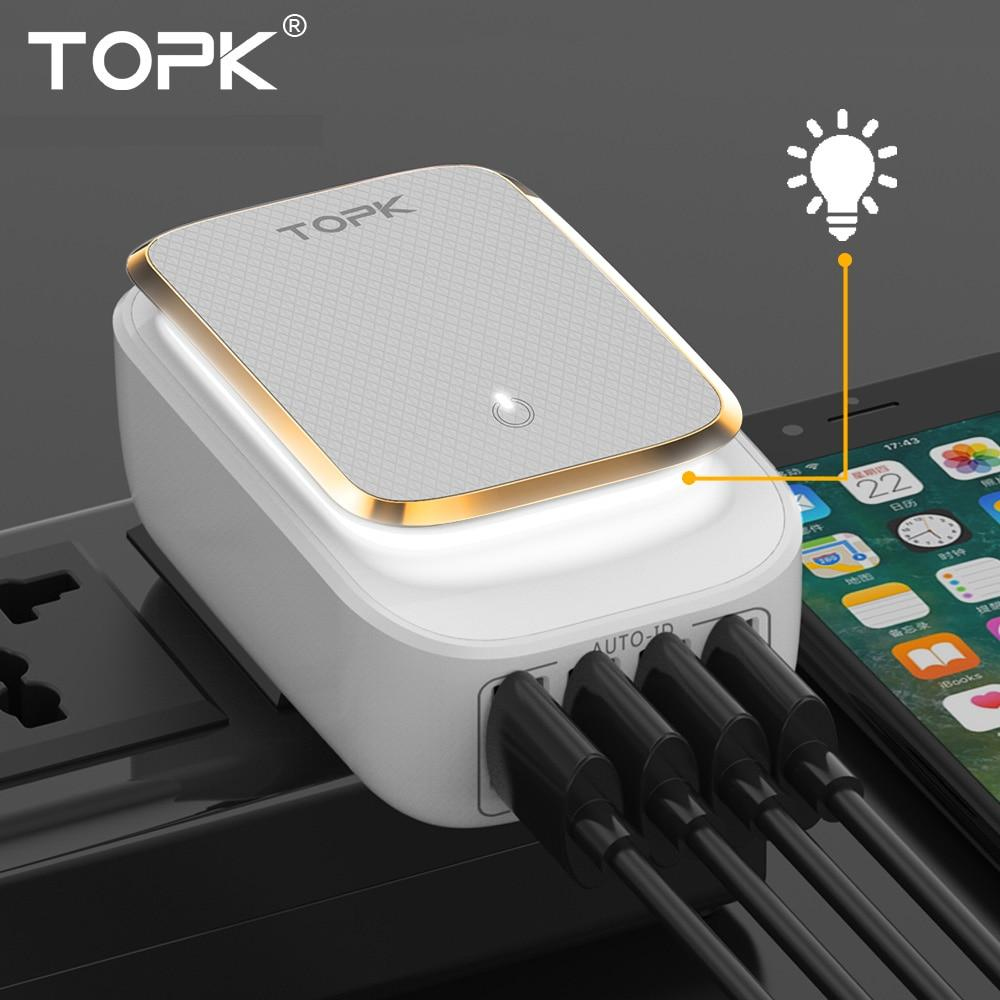TOPK® 4-PORT USB CHARGER - Big Red