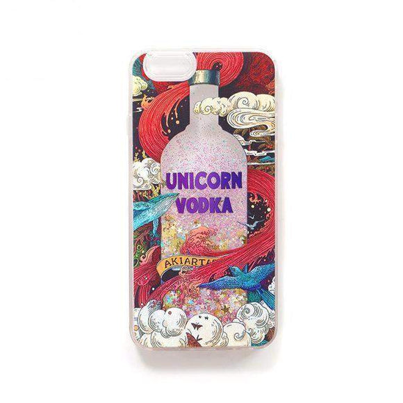 UNICORN VODKA LIQUID GLITTER IPHONE CASE-Alpha Manchester