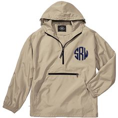 Unlined Pullover Rain Jacket--Stone - Monograms By Kim Boutique & Gifts