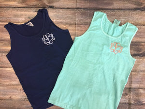 Comfort Colors Tank Top with Left Chest Thread Monogram - Monograms By Kim Boutique & Gifts