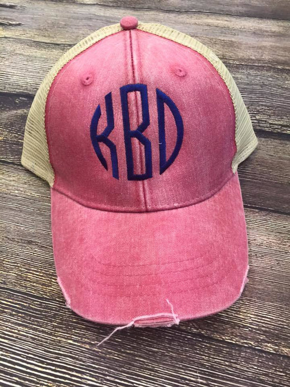 Ollie Distressed Trucker Cap--Nautical Red/Tan - Monograms By Kim Boutique & Gifts