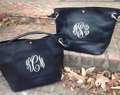 Monogrammed 2-in-1 Bucket Purse--Black - Monograms By Kim Boutique & Gifts