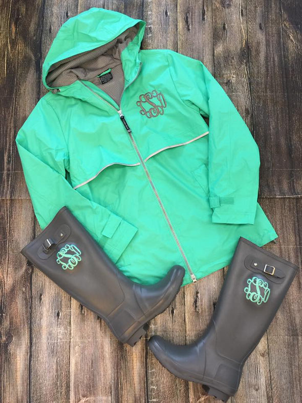 New Englander Rain Jacket--Mint - Monograms By Kim Boutique & Gifts