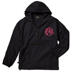 Unlined Pullover Rain Jacket--Black - Monograms By Kim Boutique & Gifts