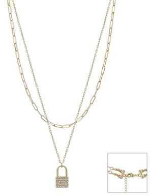"Gold Chain Layered with Rhinestone Locket 16""-18"" Necklace"