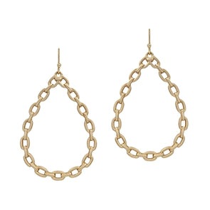 "Gold Link Teardrop 2"" Earrings"
