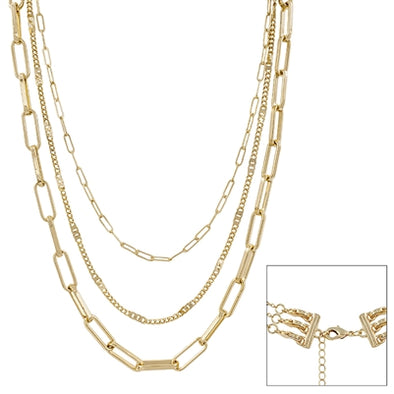 "Gold Three Layered 16""-20"" Necklace"