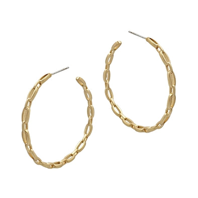 "Matte Gold Link Chain 2"" Hoop Earrings"
