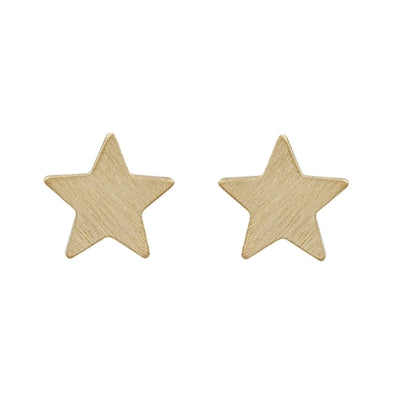 "Matte Gold Star Stud .5"" Earrings"