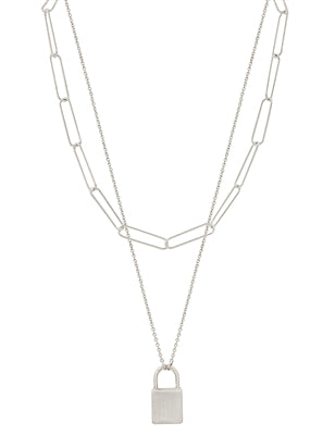 "Matte Silver Chain with Locket Charm Layered 16""-18"" Necklace"