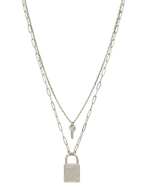 "Matte Silver Layered Lock and Key 17""-19"" Necklace"