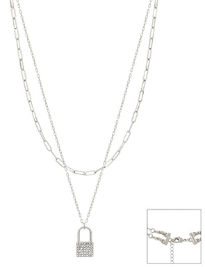 "Silver Chain Layered with Rhinestone Locket 16""-18"" Necklace"