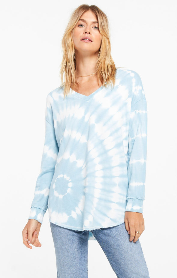 Z Supply V-Neck Spiral Tie Dye Weekender - Agave