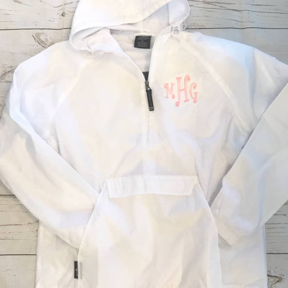 Lined Pullover Rain Jacket--White - Monograms By Kim Boutique & Gifts