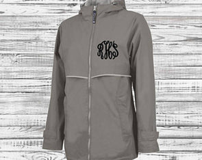 New Englander Rain Jacket--Grey - Monograms By Kim Boutique & Gifts