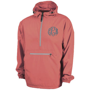 Unlined Pullover Rain Jacket--Coral - Monograms By Kim Boutique & Gifts