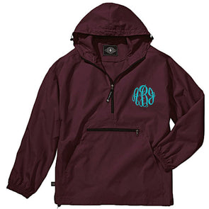 Unlined Pullover Rain Jacket--Maroon